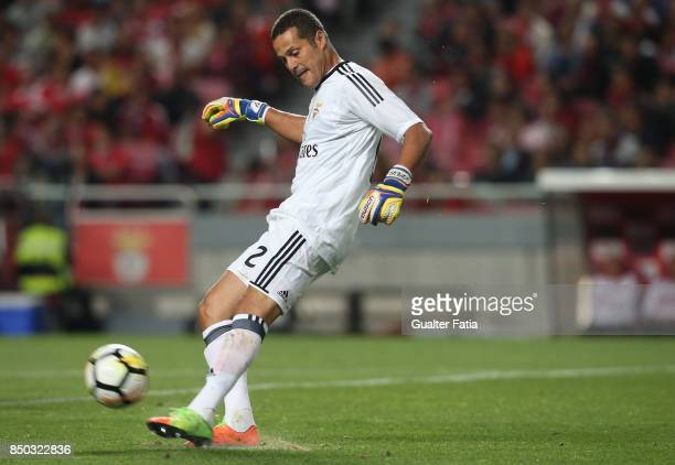 Benfica goalkeeper Julio Cesar from Brazil in action during the Portuguese League Cup match between SL Benfica and SC Braga at Estadio da Luz on...