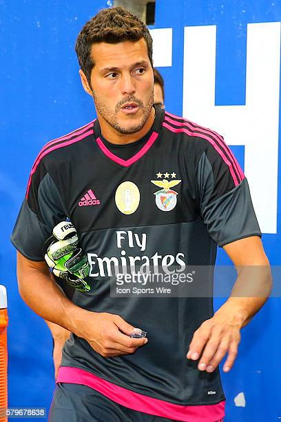 Benfica goalkeeper Julio Cesar prior to the game between the New York Red Bulls and SL Benfica played at Red Bull Arena in HarrisonNJ