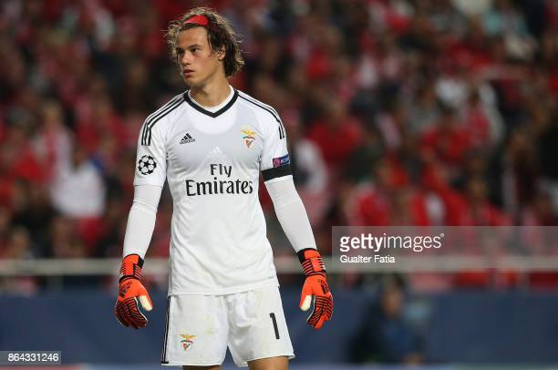 Benfica goalkeeper Mile Svilar from Belgium in action during the UEFA Champions League match between SL Benfica and Manchester United FC at Estadio...