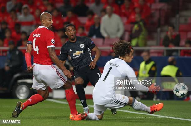 Benfica goalkeeper Mile Svilar from Belgium saves shot from Manchester United FC forward Anthony Martial from France during the UEFA Champions League...