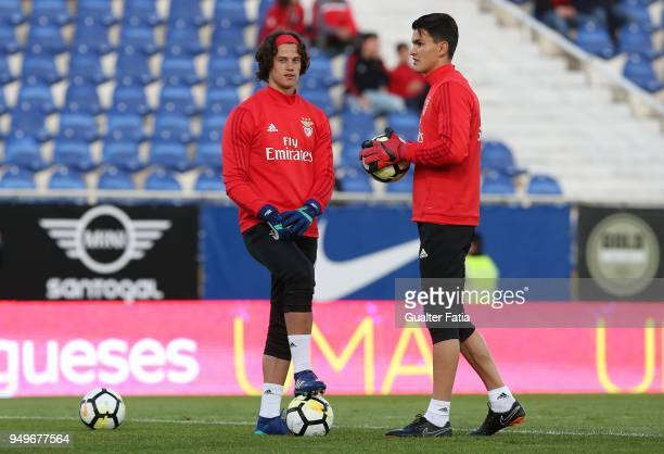Benfica goalkeeper Mile Svilar from Belgium with SL Benfica goalkeeper Ivan Zlobin from Russia in action during warm up before the start of the...