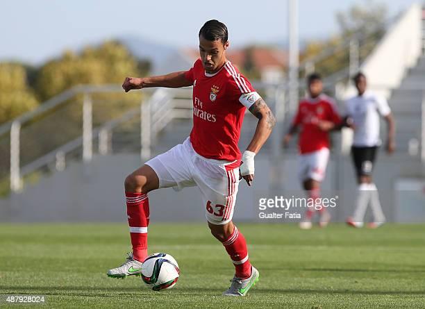 Benfica II's defender Joao Nunes in action during the Primeira Liga match between SL Benfiva II and Academica de Viseu at Caixa Futebol Campus on...