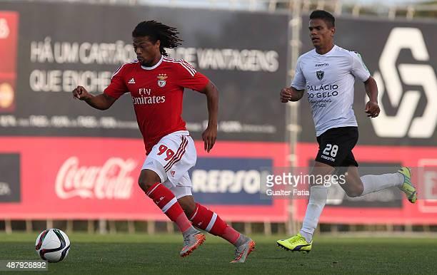 Benfica II's forward Hildeberto Pereira with Academica de Viseu's midfielder Alex Porto in action during the Primeira Liga match between SL Benfiva...