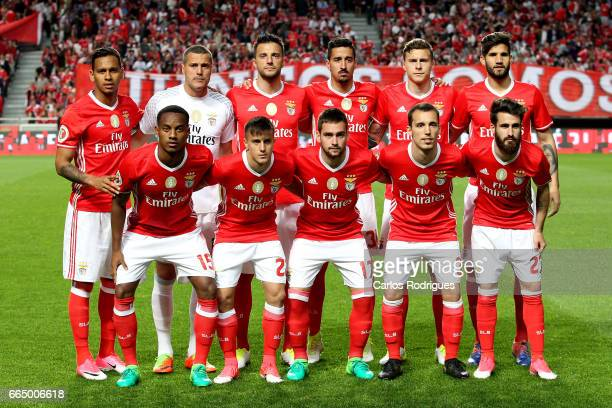 Benfica initial team during the match between SL Benfica and Estoril Praia SAD for the Portuguese Cup semi finals second leg at Estadio da Luz on...