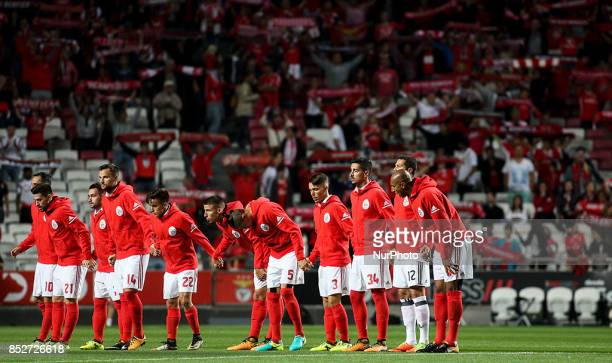 Benfica initial team posing for the supporters during the Portuguese League football match between SL Benfica and FC Pacos de Ferreira at Luz Stadium...