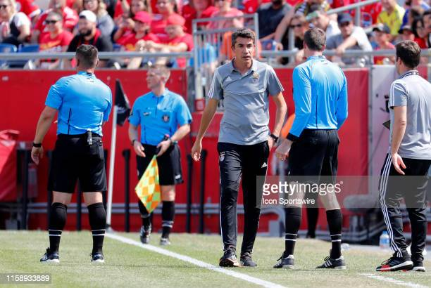 SL benfica manager Bruno Lage during an International Champions Cup match between AC Milan of Italy and SL Benfica of Portugal on July 28 at Gillette...
