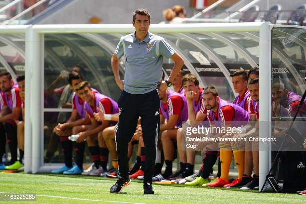 Benfica manager Bruno Lage looks on during their game against Chivas de Guadalajara in the 2019 International Champions Cup at Levi's Stadium on July...