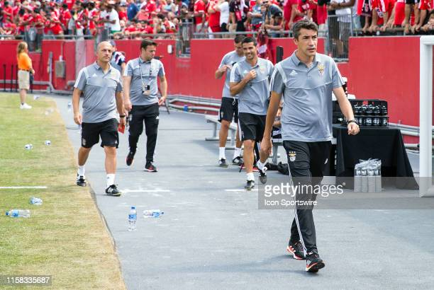 Benfica manager Bruno Lage walks to the bench prior to the international friendly match between AC Milan and SL Benfica on July 28 at Gillette...