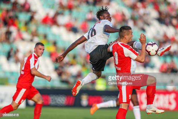 Benfica midfielder Alfa Semedo from Guinea Bissau vies with FK Napredak forward Anes Rusevic from Serbia for the ball possession during the Benfica v...