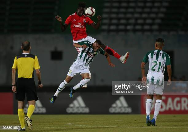 Benfica midfielder Alfa Semedo from Guinea Bissau with Vitoria Setubal defender Goncalo Cascardo from Brazil in action during the PreSeason Friendly...