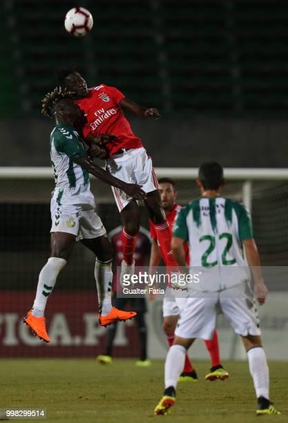 Benfica midfielder Alfa Semedo from Guinea Bissau with Vitoria Setubal forward Valdu Te from Guinea Bissau in action during the PreSeason Friendly...