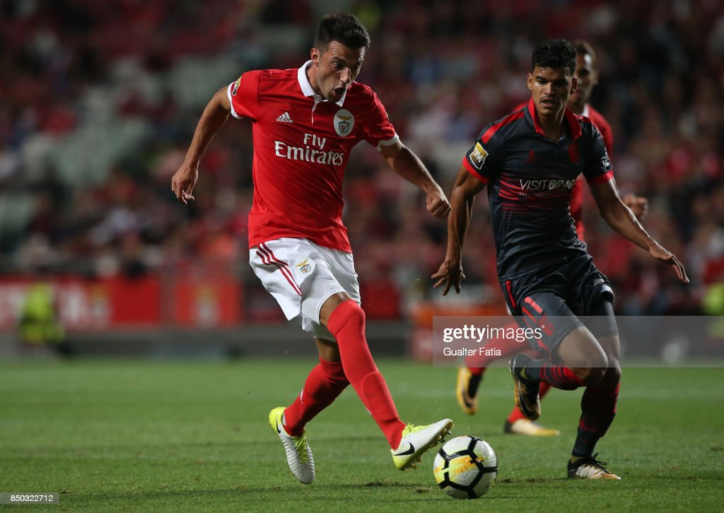SL Benfica midfielder Andreas Samaris from Greece in action during the Portuguese League Cup match between SL Benfica and SC Braga at Estadio da Luz on September 20, 2017 in Lisbon, Portugal.