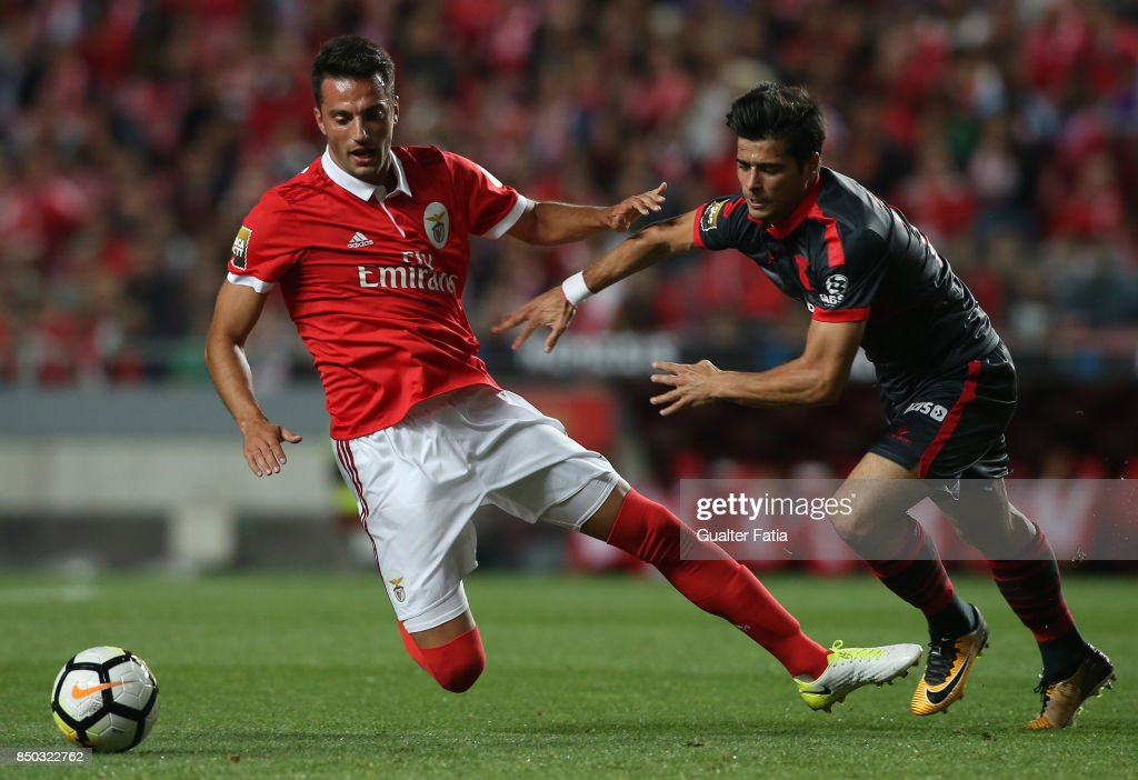 SL Benfica midfielder Andreas Samaris from Greece tackled by Joao Carlos Teixeira during the Portuguese League Cup match between SL Benfica and SC Braga at Estadio da Luz on September 20, 2017 in Lisbon, Portugal.