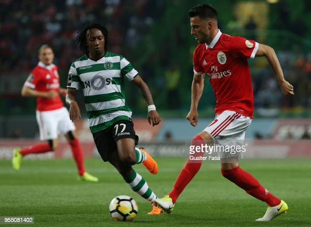 Benfica midfielder Andreas Samaris from Greece with Sporting CP forward Gelson Martins from Portugal in action during the Primeira Liga match between...