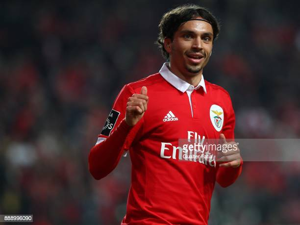 Benfica midfielder Filip Krovinovic from Croatia celebrates after scoring a goal during the Primeira Liga match between SL Benfica and GD Estoril...