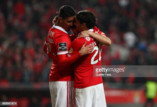 Benfica midfielder Filip Krovinovic from Croatia celebrates with teammates after scoring a goal during the Primeira Liga match between SL Benfica and...