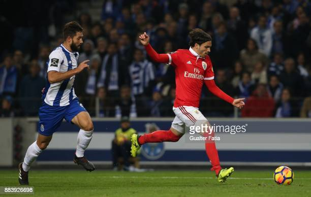 Benfica midfielder Filip Krovinovic from Croatia with FC Porto defender Felipe from Brazil in action during the Primeira Liga match between FC Porto...