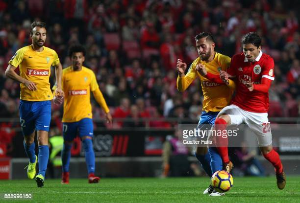 Benfica midfielder Filip Krovinovic from Croatia with GD Estoril Praia midfielder Charis Kyriakou from Cyprus in action during the Primeira Liga...