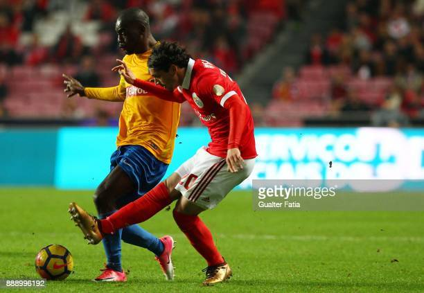 Benfica midfielder Filip Krovinovic from Croatia with GD Estoril Praia forward Aylton Boa Morte from Portugal in action during the Primeira Liga...