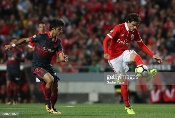 Benfica midfielder Filip Krovinovic from Croatia with SC Braga forward Joao Carlos Teixeira from Portugal in action during the Portuguese League Cup...