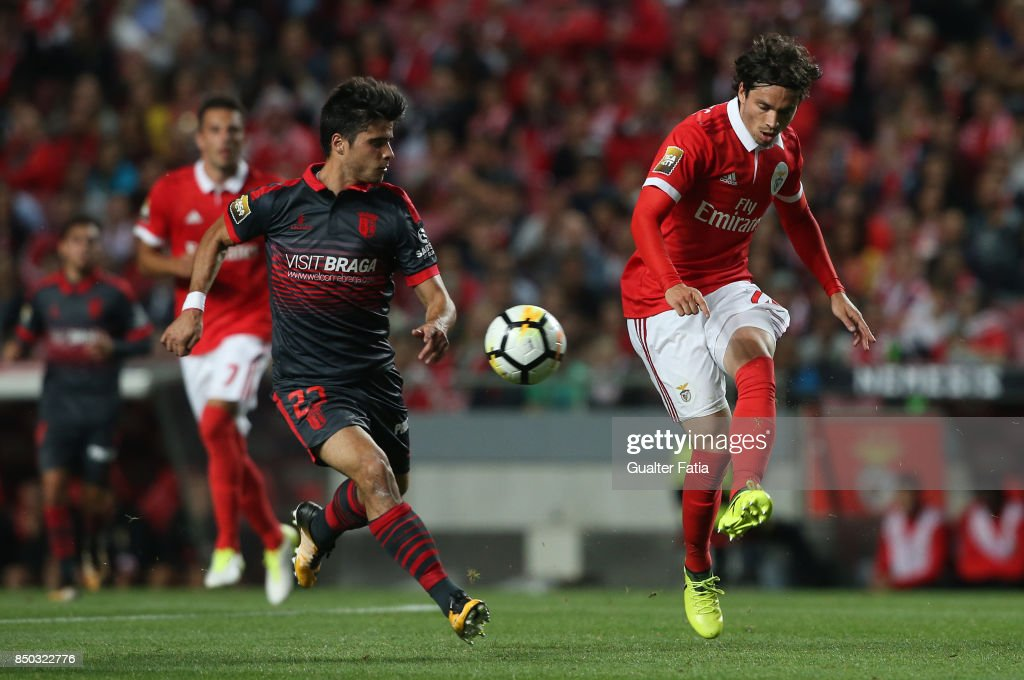 SL Benfica midfielder Filip Krovinovic from Croatia with SC Braga forward Joao Carlos Teixeira from Portugal in action during the Portuguese League Cup match between SL Benfica and SC Braga at Estadio da Luz on September 20, 2017 in Lisbon, Portugal.