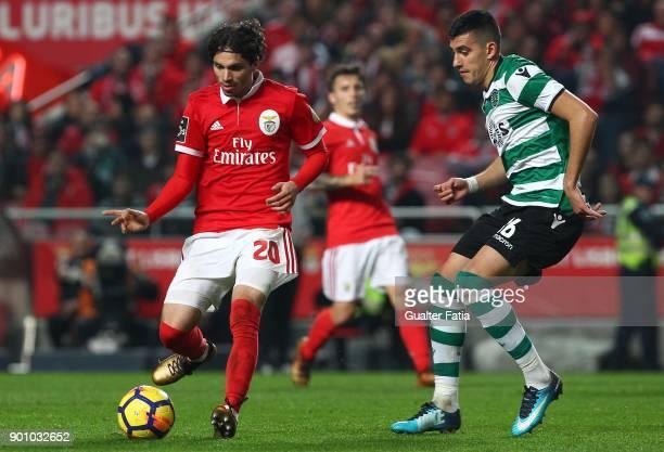 Benfica midfielder Filip Krovinovic from Croatia with Sporting CP midfielder Rodrigo Battaglia from Argentina in action during the Primeira Liga...