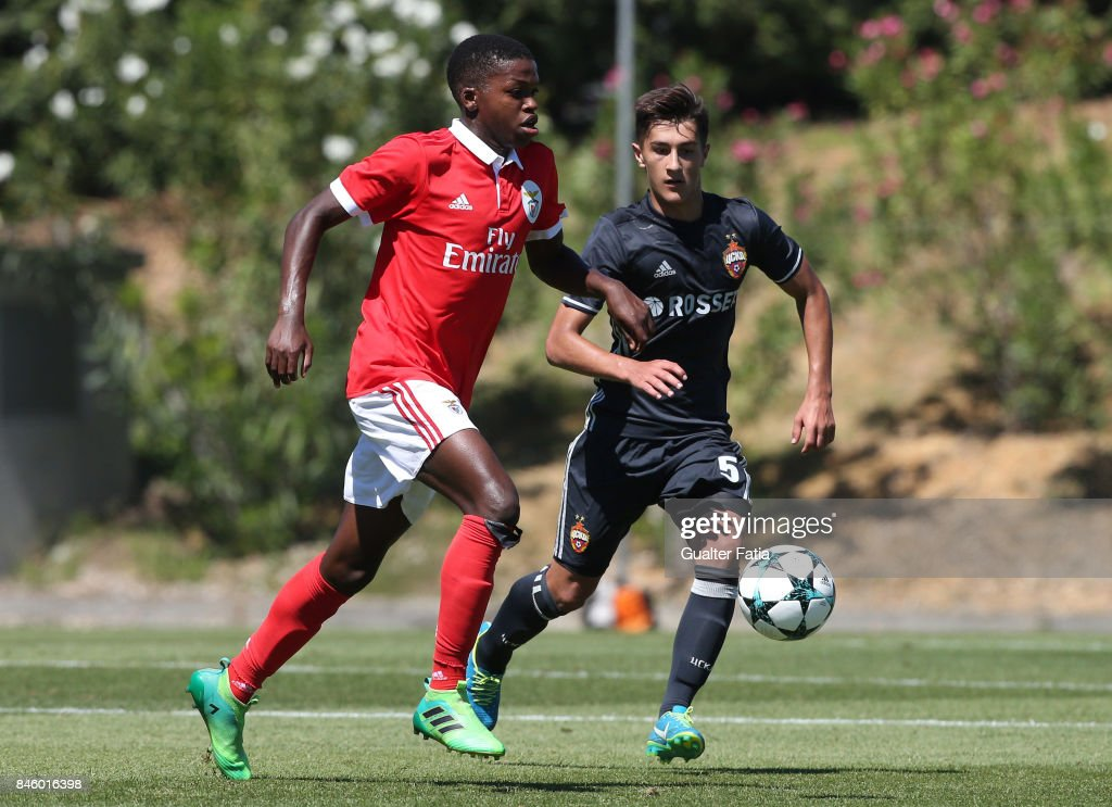 SL Benfica midfielder Florentino Luis is closed down by CSKA Moskva midfielder Konstantin Maradishvili during the UEFA Youth League match between SL Benfica and CSKA Moskva at Caixa Futebol Campus on September 12, 2017 in Seixal, Portugal.