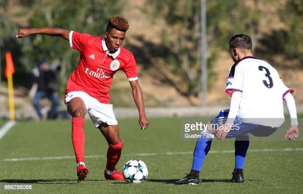 Benfica midfielder Gedson Fernandes from Portugal with Basel defender Dejan Zunic from Switzerland in action during the UEFA Youth League match...