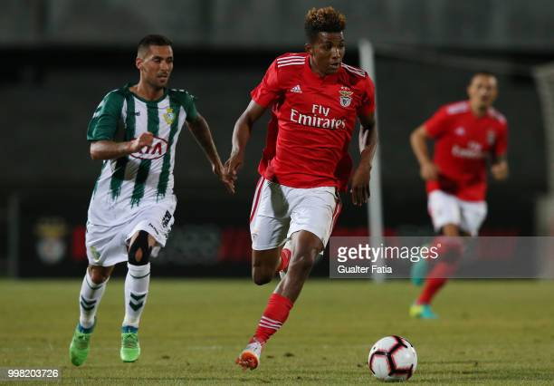 Benfica midfielder Gedson Fernandes from Portugal with Vitoria Setubal defender Nuno Pinto from Portugal in action during the PreSeason Friendly...