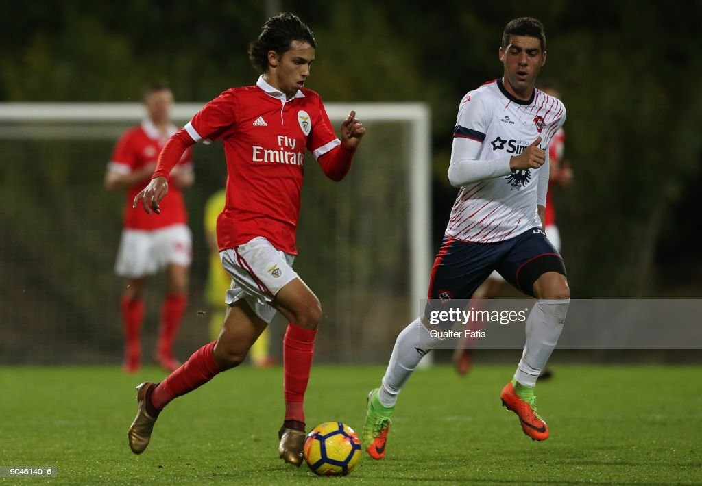 SL Benfica midfielder Joao Felix from Portugal with UD Oliveirense defender Xandao from Brazil in action during the Segunda Liga match between SL Benfica B and UD Oliveirense at Caixa Futebol Campus on January 13, 2018 in Seixal, Portugal.