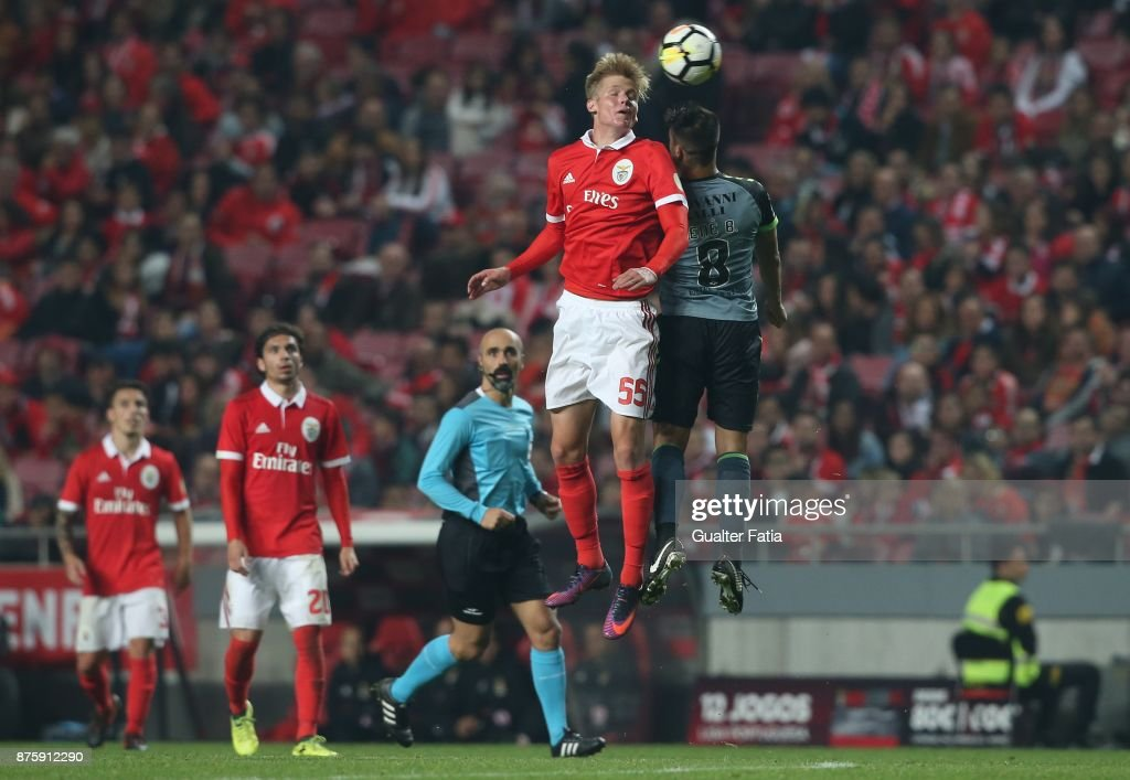 SL Benfica midfielder Keaton Parks from United States of America with Vitoria Setubal midfielder Nene Bonilha from Brazil in action during the Portuguese Cup match between SL Benfica and Vitoria Setubal at Estadio da Luz on November 18, 2017 in Lisbon, Portugal.