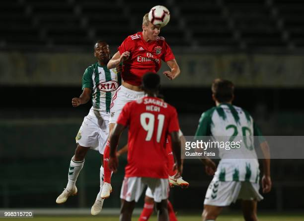 Benfica midfielder Keaton Parks from United States of America with Vitoria Setubal forward Allef from Brazil in action during the PreSeason Friendly...