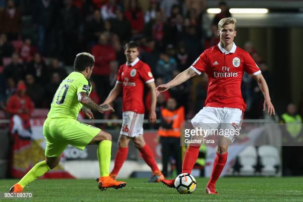 Benfica midfielder Keaton Parks in action during the Primeira Liga match between SL Benfica and CD Aves at Estadio da Luz on March 10 2018 in Lisbon...