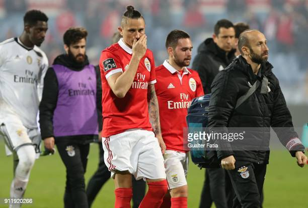 Benfica midfielder Ljubomir Fejsa from Serbia reaction to the draw at the end of the Primeira Liga match between CF Os Belenenses and SL Benfica at...