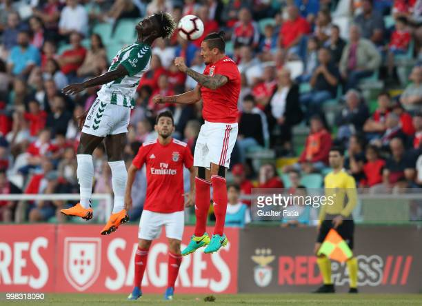 Benfica midfielder Ljubomir Fejsa from Serbia with Vitoria Setubal forward Valdu Te from Guinea Bissau in action during the PreSeason Friendly match...