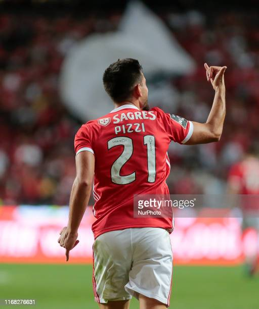 SL Benfica Midfielder Pizzi celebrates after scoring during the Premier League 2019/20 match between SL Benfica and Gil Vicente FC at Luz Stadium in...