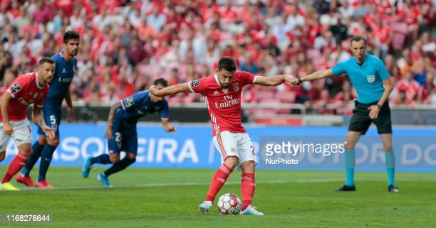 SL Benfica Midfielder Pizzi scoring a penalty kick during the Premier League 2019/20 match between SL Benfica and Gil Vicente FC at Luz Stadium in...
