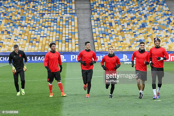Benfica players attend a training session at the Olympiyskiy national stadium in Kiev Ukraine Tuesday Oct 18 2016 Benfica will play against Dynamo...