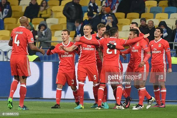 Benfica players celebrate their second goal during the UEFA Champions League Group B match between Dynamo Kyiv and SL Benfica at NSC Olimpiyskiy...