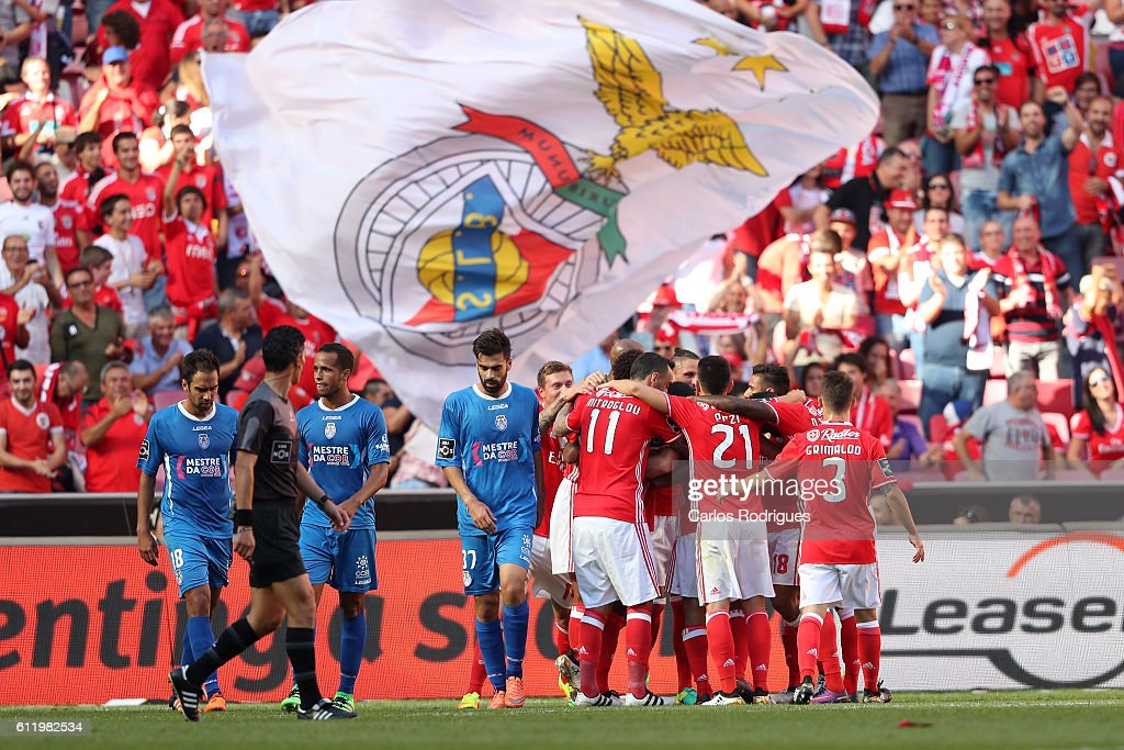 Benfica Players celebrates Benfica's first goal scored by Feirense's midfielder Luis Aurelio from Portugal in his own goal during the SL Benfica v CD Feirense - Primeira Liga match at Estadio da Luz on October 02, 2016 in Lisbon, Portugal.