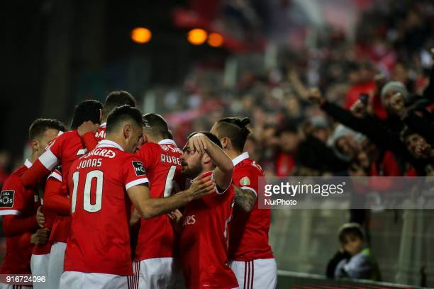 Benfica players celebrating their goal during the Portuguese League football match between Portimonense SC and SL Benfica at Portimao Stadium in...