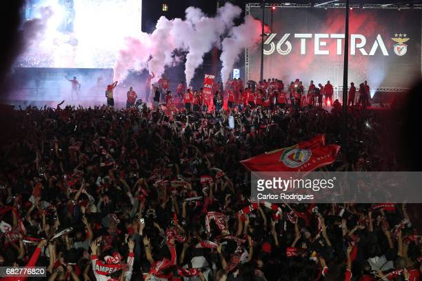 Benfica players celebrating with his supporters Winning the League Title after the match between SL Benfica and Vitoria SC for the Portuguese...