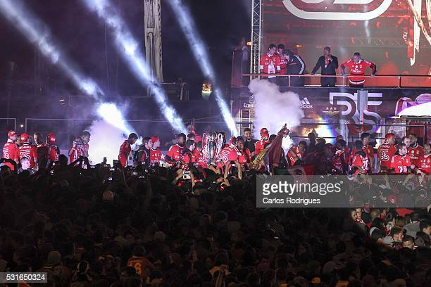 Benfica players celebrating with the Fans Winning the Portuguese League Title at Marques de Pombal square on May 15 2016 in Lisbon Portugal