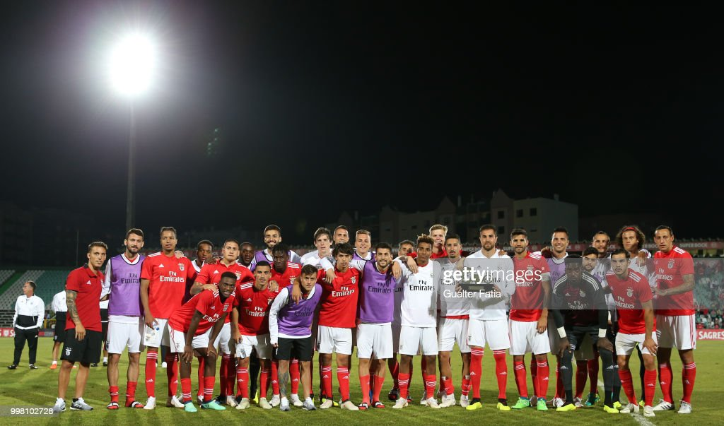 SL Benfica players pose for a photo with trophy after winning the Sado Tournament at the end of the Pre-Season Friendly match between SL Benfica and Vitoria Setubal at Estadio do Bonfim on July 13, 2018 in Setubal, Portugal.