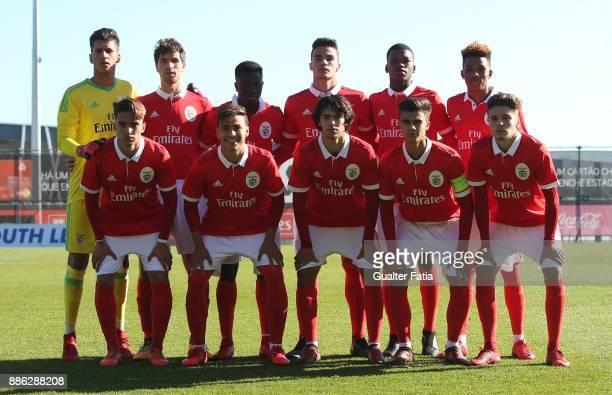 Benfica players pose for a team photo before the start of the UEFA Youth League match between SL Benfica and FC Basel at Caixa Futebol Campus on...
