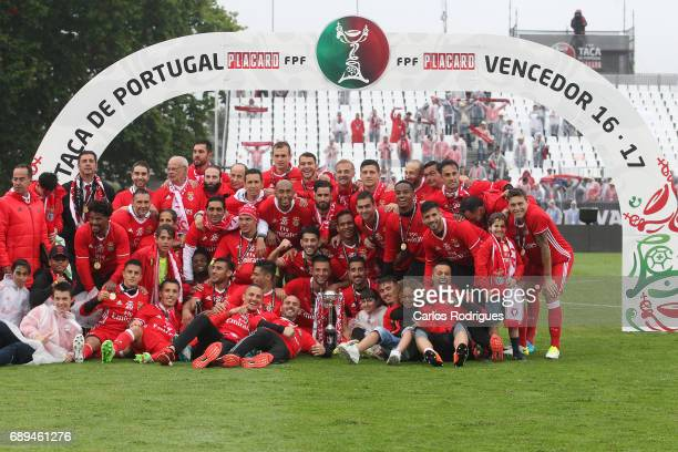 Benfica players posing with the Portuguese Cup Trophy at the end of the match between SL Benfica and Vitoria SC for the Portuguese Cup Final Liga at...