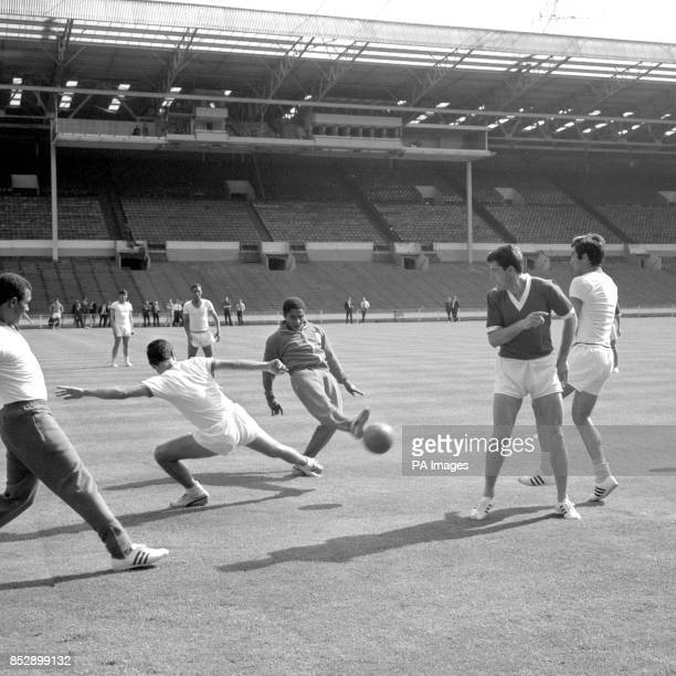 Benfica star Eusebio during a practice session at Wembley on the eve of the European Cup Final against Manchester United
