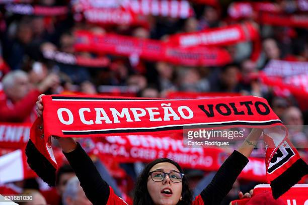 Benfica supporters before the match between SL Benfica and Boavista FC for the Portuguese Primeira Liga at Estadio da Luz on January 14 2017 in...
