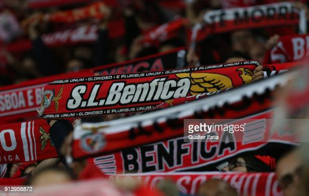 Benfica supporters in action before the start of the Primeira Liga match between SL Benfica and Rio Ave FC at Estadio da Luz on February 3 2018 in...