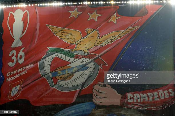 Benfica supporters shows a banner before the match between SL Benfica and Sporting CP for the Portuguese Primeira Liga at Estadio da Luz on January 3...